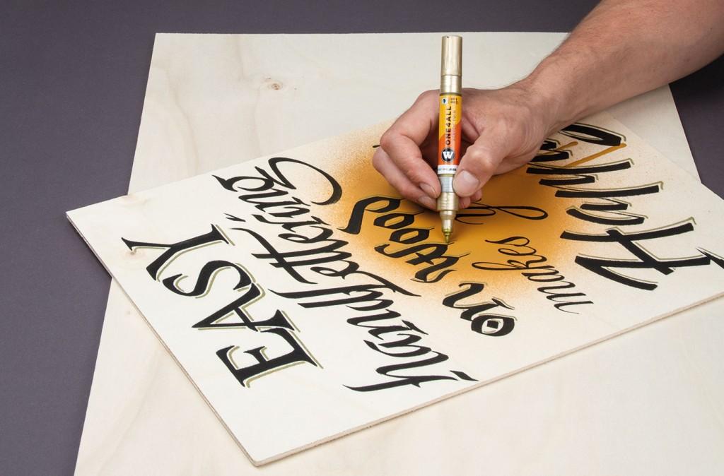 Použití TWIN oboustranné ONE4ALL akrylické fixy na dřevěnou překližku