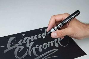 Použití fixy MOLOTOW Liquid Chrome na černý papír