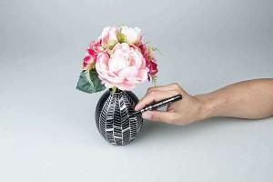 Použití fixy Liquid Chrome na porcelán
